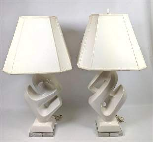 Pair Modernist Style Pottery Table Lamps. White Angled