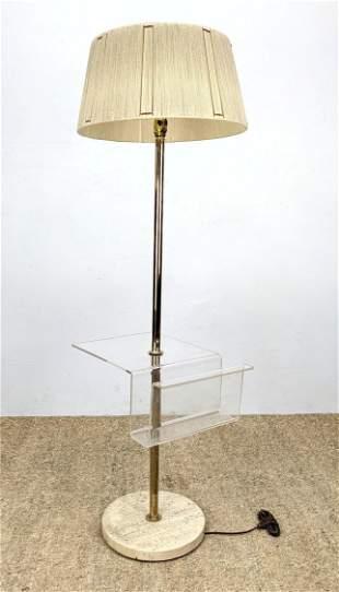 Mid Century Modern Magazine Floor Lamp. Lucite and Tra