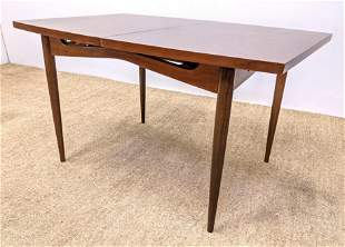 American Modern Walnut Dining Table. On Tapered Legs. T