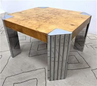 Leon Rosen Occasional Table. Art Deco Burl Wood Table.
