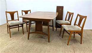 5pc American Modern Dining Set. Table with Bowed Side.