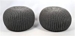 Pr Contemporary Woven Gray Rope Stools.
