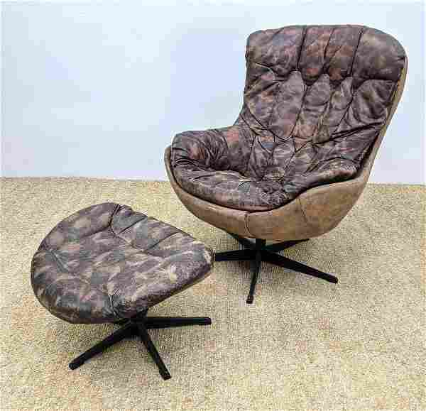 Modern Tall Leather Lounge Chair & Ottoman. Tufted mott