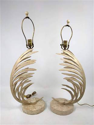 Pair Decorative Fern Form Table Lamps. Stone bases.