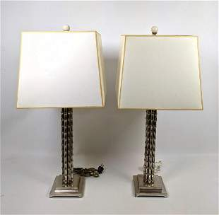 Pair Contemporary Modern Metal Table Lamps.