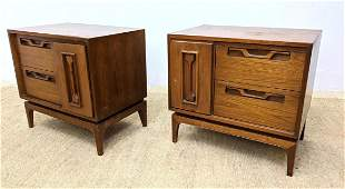 Pair American Modern Walnut Side Table Night Stands. D