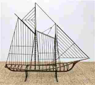 Signed C JERE 76 Metal Sailboat Sculpture. This adaptab
