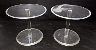 Pr Clear Lucite Round Stands Tables