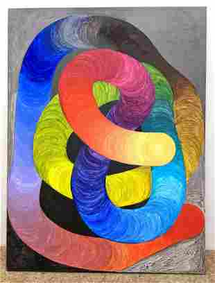 Colorful Modernist Oil Painting on Canvas. Unframed.