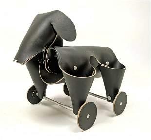 VACA VALIENTE Black Leather Dog Desk Caddy. Figural dog