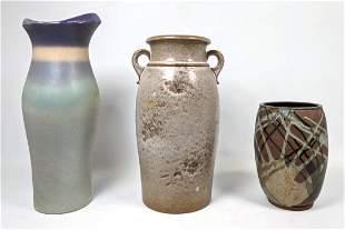 3pcs Large Pottery Vases. W Germany Etc.