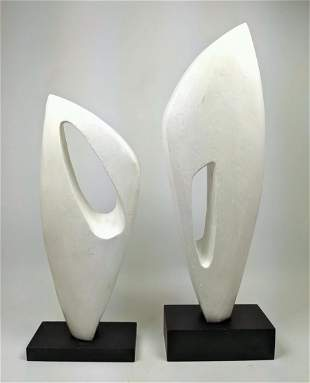 2pc Modernist Abstract Table Sculptures. Abstract forms