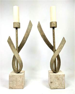 Pair Decorative Ribbon Form Table Lamps. Stone bases.