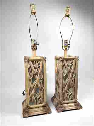 Pair Decorative Bamboo Style Table Lamps. 2002 Pacific