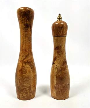 Lacquered Leather Aldo Tura style Salt and Pepper. Tall