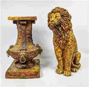 2pc Cast Resin Sculptures. 1). Figural Lion. 2). Urn Va