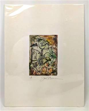 Artist Signed Modernist Abstract Print. Faces and Eyes