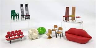 14pcs Miniature Mid Century Modern Seating. Eames, Maci