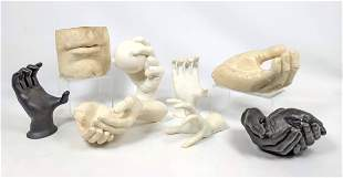 8pc Collection of Hand and Mouth/Lips Sculptures. Inclu