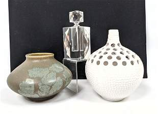 3pc Modern Design Collection. Faceted crystal Perfumer.