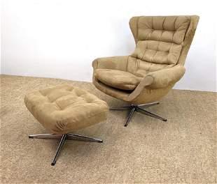 Modernist Recliner Lounge Chair Ottoman. Tufted Tan Ult