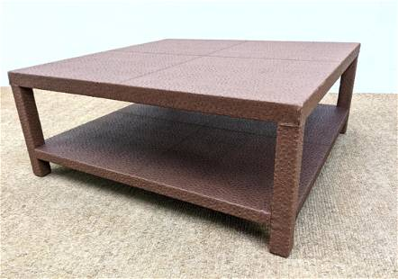Large Springer Style Coffee Cocktail Table. Faux Ostric