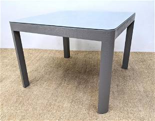 Karl Springer Style Grasscloth Dining Table. Rounded co