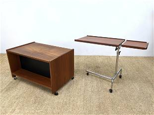 2pc Danish Modern Office Items. 1). Rolling open storag