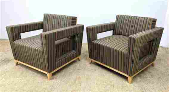 Pr CUMBERLAND Striped Fabric Lounge Chairs. Upholstered