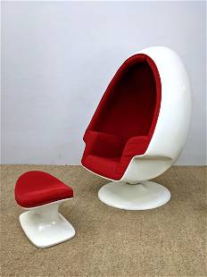 Large Egg Chair and Ottoman. White finished fiberglass.