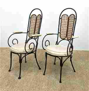 Pr Caned Back Iron Frame Cafe Arm Chairs. Baughman Styl