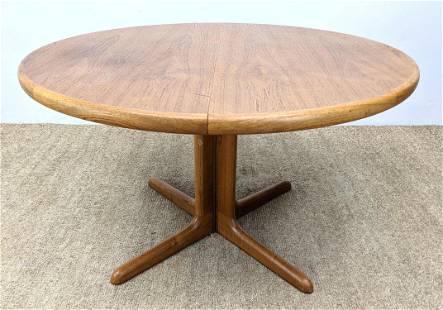 SKOVBY Danish Modern Teak Banded Dining Table. Pedestal