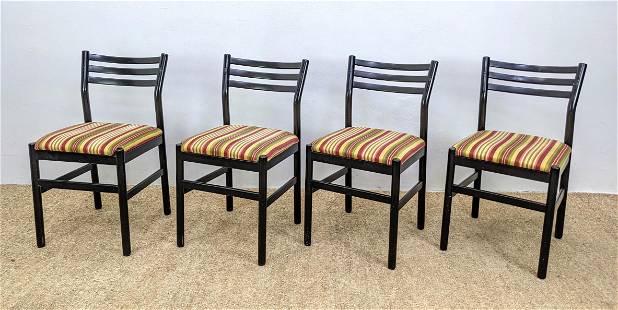 Set 4 Italian Ebonized Wood Dining Chairs. Striped fabr