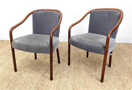 Pair WARD BENNETT DESIGNS Arm Chairs. Curved form with