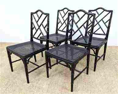 Set 4 Decorator Ebonized Faux Bamboo Dining Chairs. Tal
