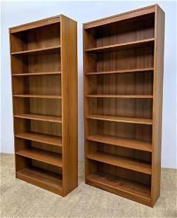 Pr 7' Tall Danish Modern Teak Bookcases. Open cabinets.