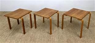 3pc Swedish Modern Wood Stacking Tables. Laminated Legs