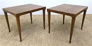 Pr BAKER Banded Side End Tables. Elegant tapered legs.