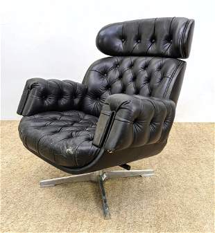 Tufted Black Leather Tall Back Swivel Lounge Chair. Ped