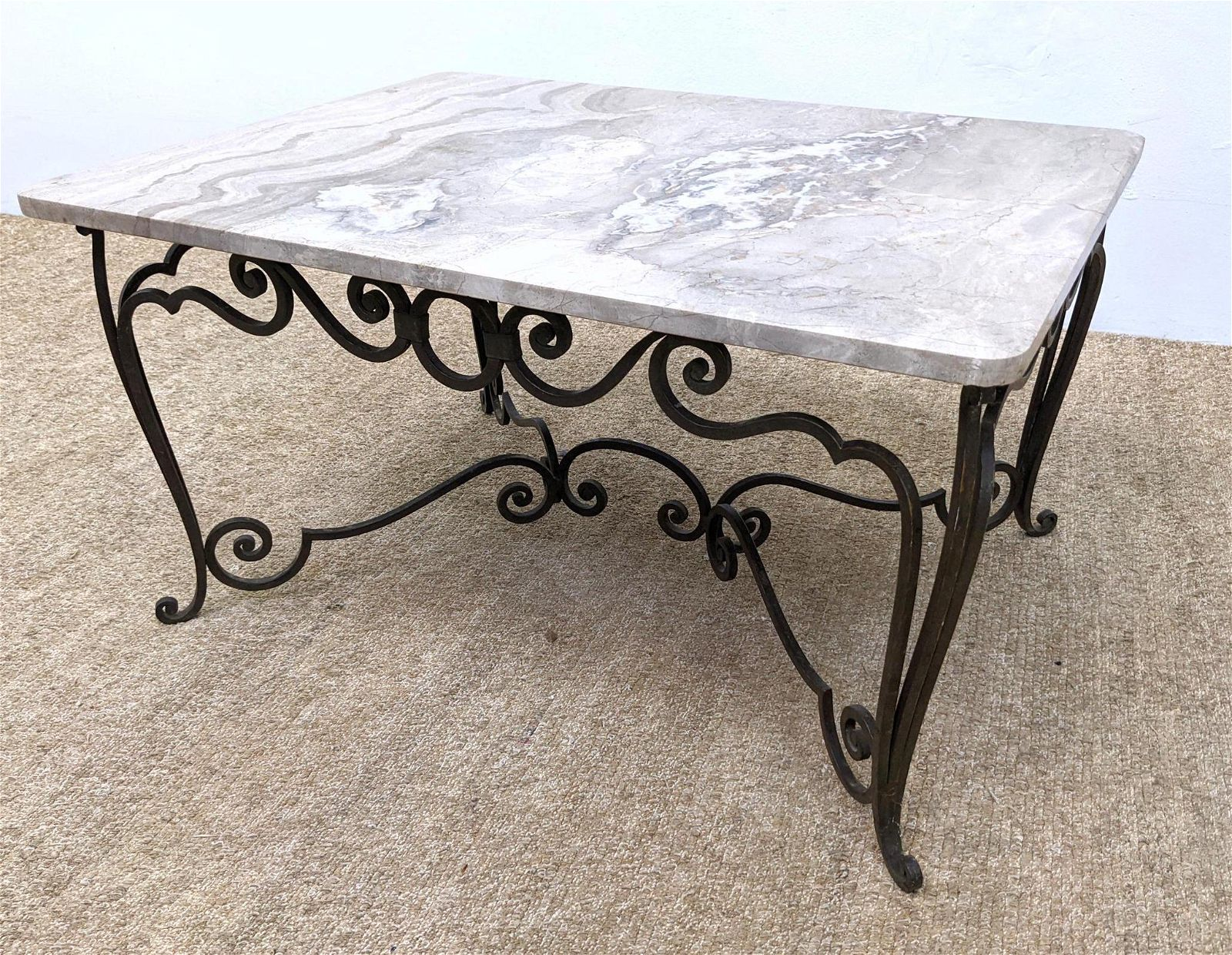 French Style Marble and Iron Coffee Cocktail Table. Scr