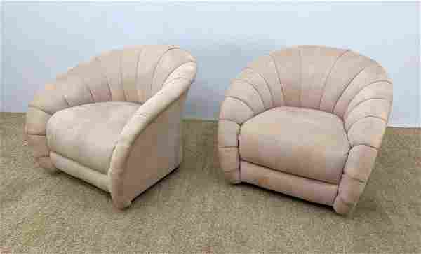 Pair Art Deco Style Upholstered Lounge Chairs with Swiv