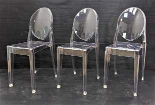 3pc Set Victoria Ghost Side Chairs. KARTELL Clear Molde