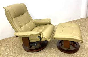 BENCHMASTER Lounge Chair Recliner and Ottoman. Leather.