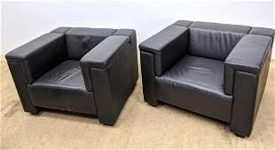 Pr MDC Black Leather Cube Form Club Lounge Chairs. Squa