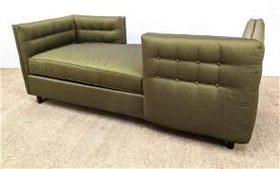 KRAVET Green Upholstered Modern Tete a Tete Sofa Tufted