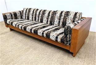 Mid Century Modern Danish Teak Sofa Couch. Wide frame.