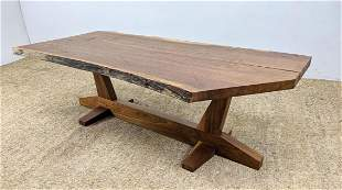 Custom Thick Plank Top Coffee Cocktail Table. Inspired