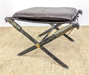 Decorator Maitland Smith Bench Stool. Roman Sword form