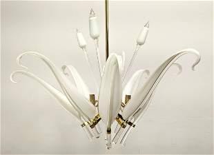 Good Italian Murano Glass Chandelier Pendant Lamp. Pul