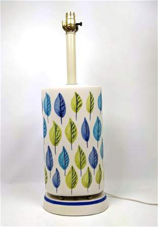 Swedish Style Pottery Table Lamp. Decorated with leave